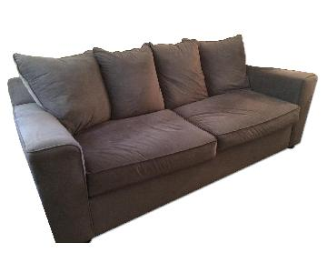 Raymour & Flanigan Suede Sofa in Dark Grey