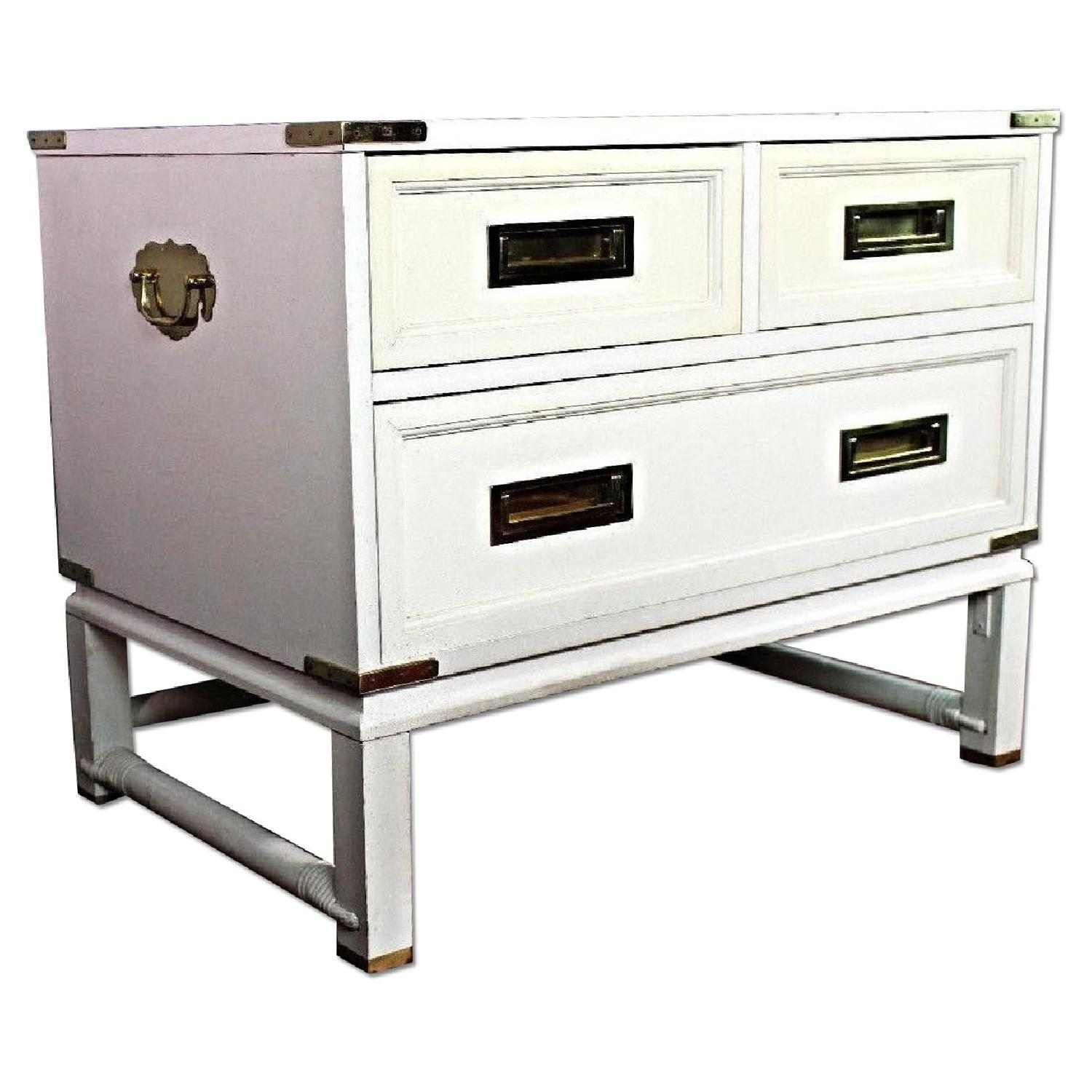 Ficks Reed Mid Century Modern White Campaign Chest