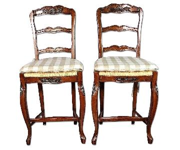 French Provincial Bar Counter Chairs/Stools w/ Wicker Seat