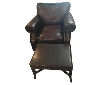 Raymour & Flanigan Bernhardt Leather Armchair w/ Rustic Nail