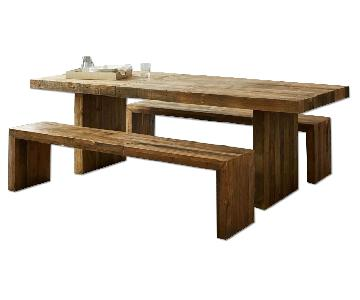 West Elm Reclaimed Pine Emmerson Dining Table w/ 2 Benches