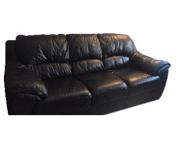 Raymour & Flanigan Black Leather Couch + Loveseat