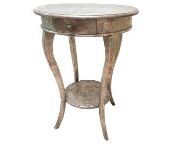 Domain New York Distressed Pewter Metallic Side Table