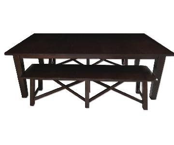 Pottery Barn Wood Dining Table w/ 2 Benches