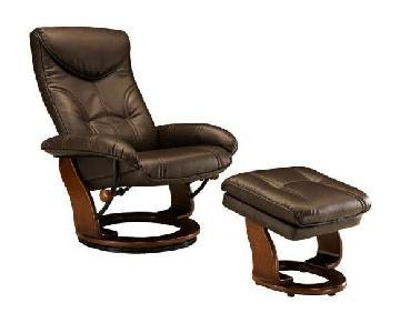 Raymour & Flanigan Leather Chair & Ottoman