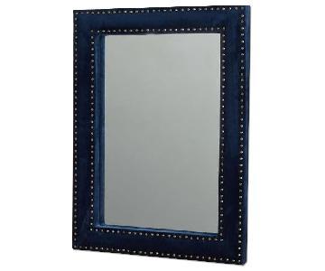 West Elm Velvet Upholstered Wall Mirror in Ink Blue