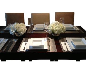 Roy's Furniture Classic Dark Wood Dining Table w/ 6 Chairs