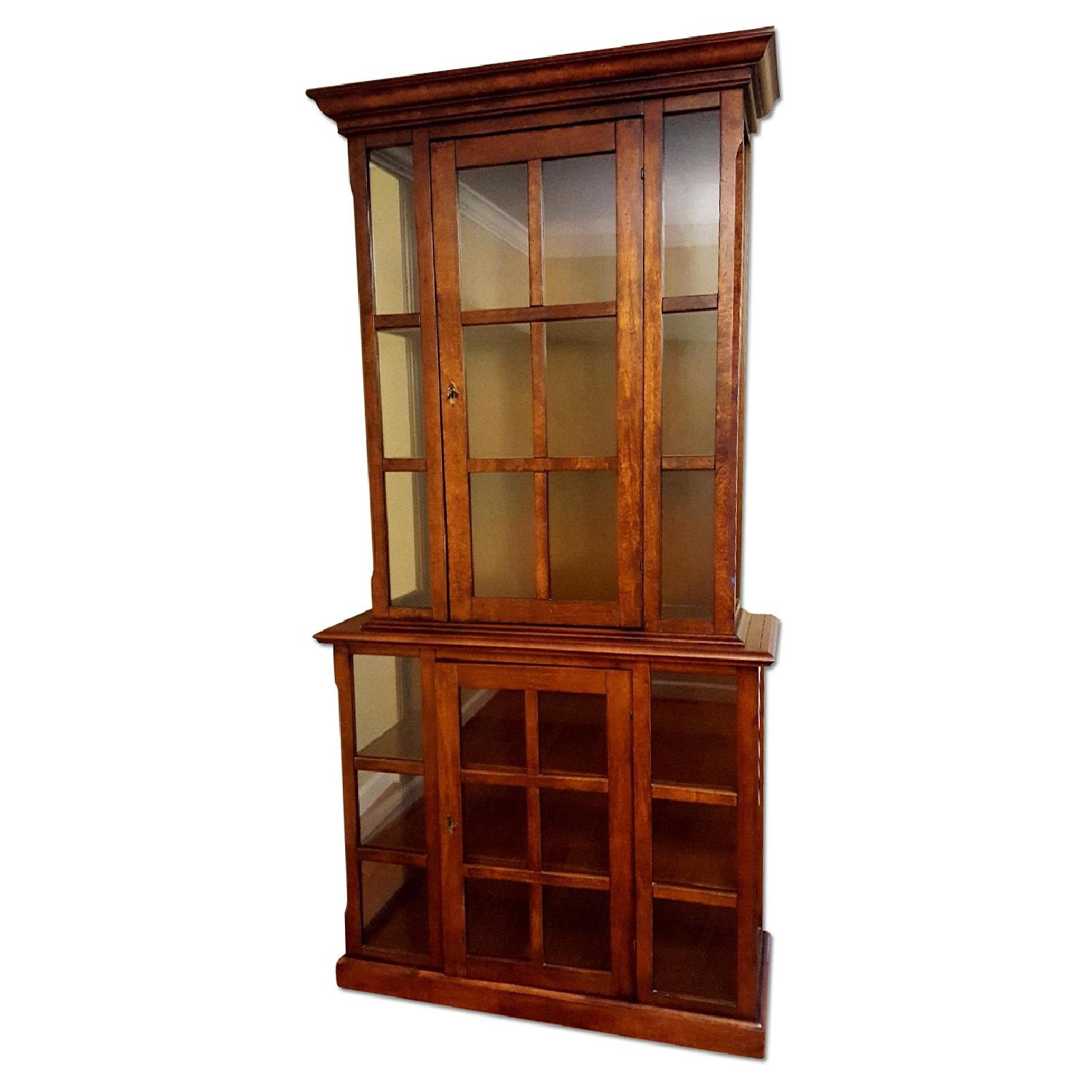 Crate & Barrel Wood & Glass Display Cabinet