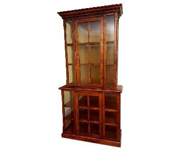 Crate & Barrel Wood & Glass Display Cabinet