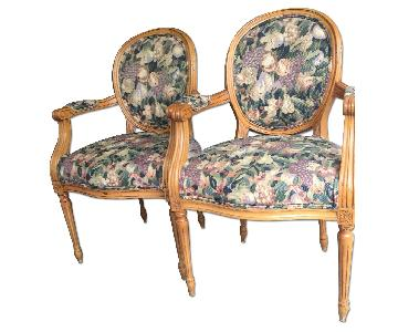 Freemarc Designs Empire Style Cameo Upholstered Armchairs