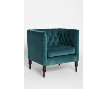 Urban Outfitters Teal Velvet Accent Chair