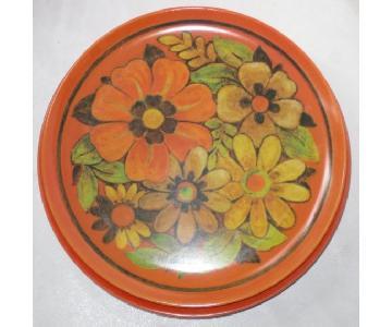 Vintage 60s Miramar Melmac Orange Daisy Dinner Plates