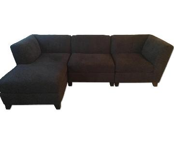 Raymour & Flanigan Tate Navy Microfiber Sectional w/ Chaise