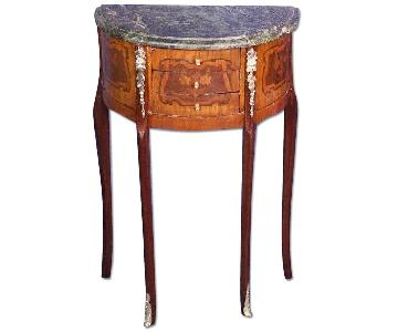 French Louis XV Marble Top End/Side Tables/Nightstands