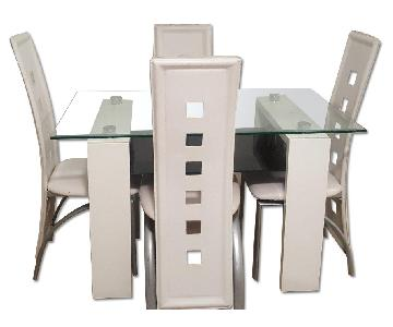 White Dining Table w/ 4 Chairs