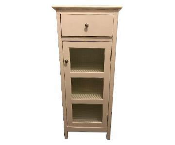 White Beadboard & Glass Cabinet