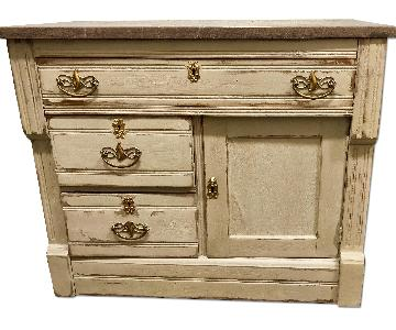 Country Chic Antique Wood Cabinet w/ Marble Stone top