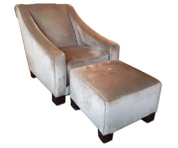 Art Deco Armchairs w/ 2 Ottomans
