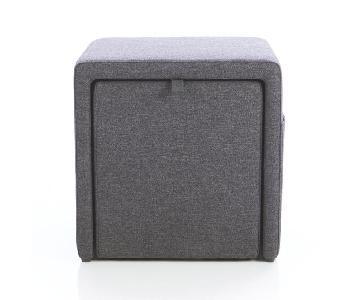 Crate & Barrel Grey Stash Ottoman