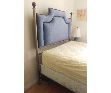 Custom Upholstered Metal Bed Frame w/ Bouquet Detail