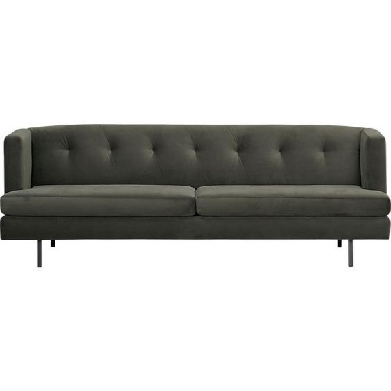 CB2 Avec Tufted Sofa in Dark Grey-Green Microfiber