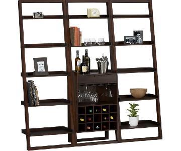 Crate & Barrel Sawyer Mocha Leaning Bookcase w/ Bar
