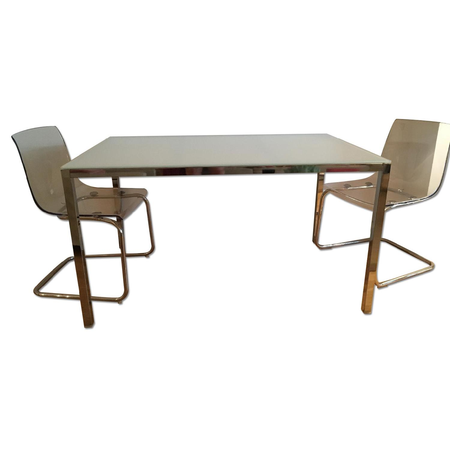 Ikea Torsby Glass Table W/ 2 Tobias Lucite Chairs ...