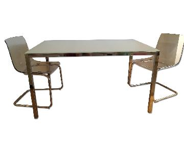 Ikea Torsby Glass Table w/ 2 Tobias Lucite Chairs