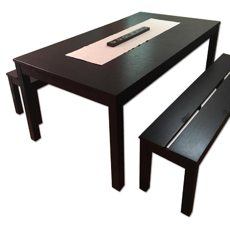 Ikea Hemnes 2 Drawer Chest in Black Brown AptDeco