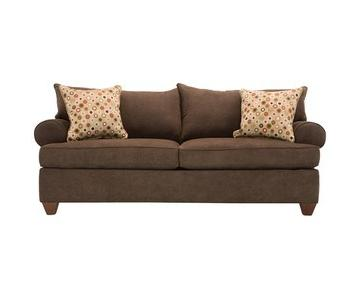 Raymour & Flanigan Couch + Loveseat w/ Accent Pillows