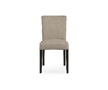 Crate & Barrel Lowe Khaki Upholstered Dining Chairs (4)