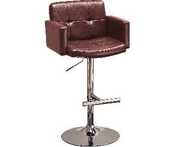 Swivel Barstool Upholstered in Brown Leatherette