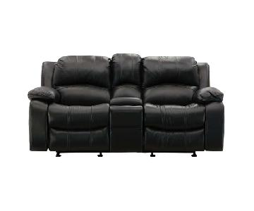 Raymour & Flanigan Black Leather Reclining Loveseat