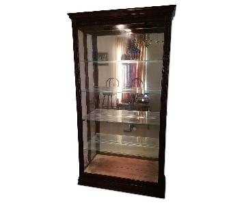 Cherry Wood Framed Glass Shelf/China Cabinet