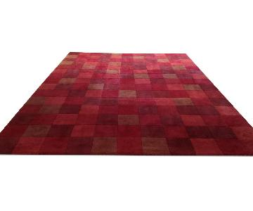Crate & Barrel Red Square Design Rug