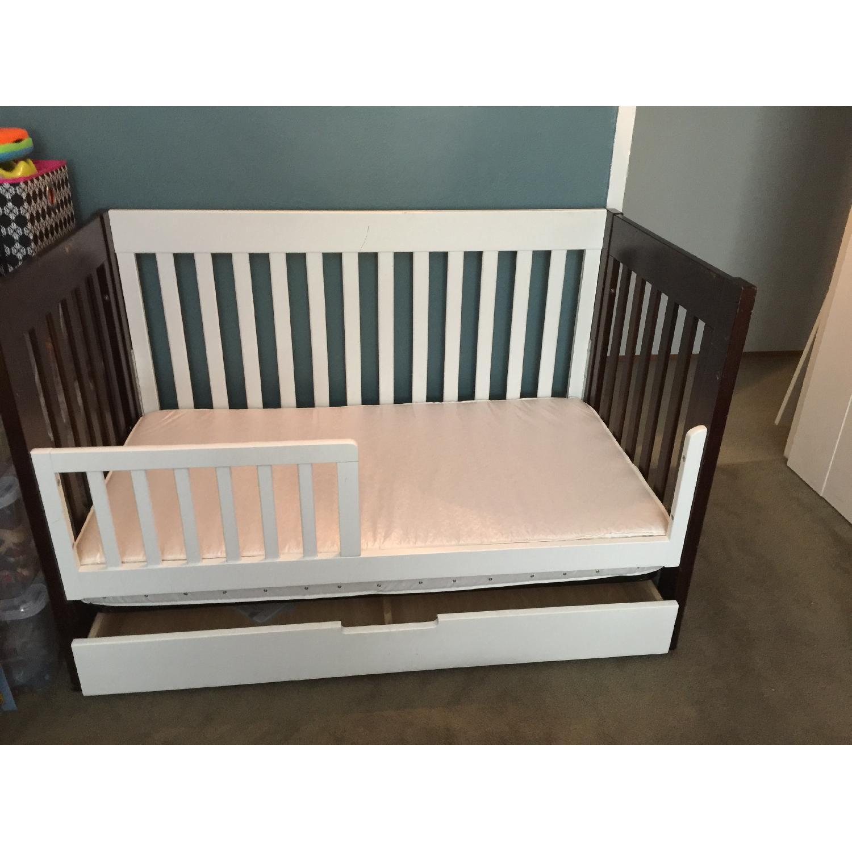 babyletto 31 mercer brown white crib u0026 drawer0