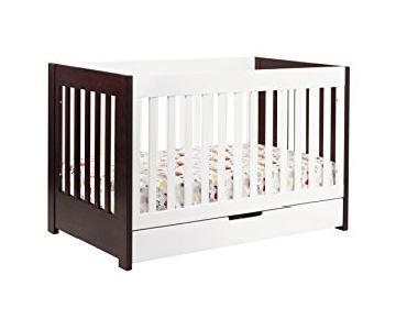 Babyletto 3-1 Mercer Brown White Crib &/ Drawer
