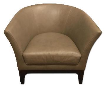 West Elm Grey Leather Tulip Armchair