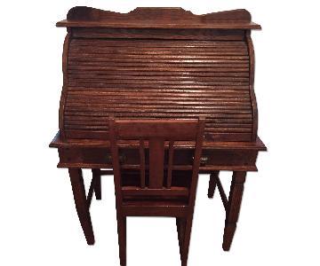 Antique C-Curve Roll-Top Desk & Chair