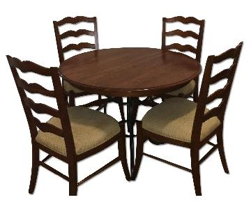 Ethan Allen Wooden Wrought Iron Dining Table w/ 4 Chairs