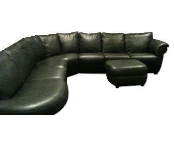Natuzzi 3-Piece Leather Sectional & Ottoman