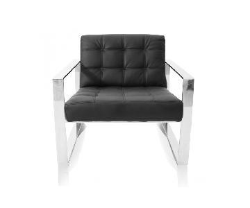 Modani Modern Black Chairs w/ Silver Handles