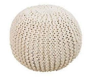 One King's Lane Cassie Knit Pouf in Cream