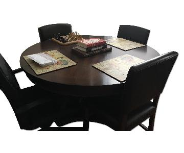 JCPenney Dark Wood Dining Room Table w/ Leaf + 6 Chairs