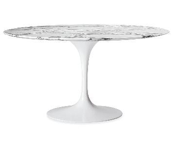 Organic Modernism Saarinen Round White Marble Top Dining Tab
