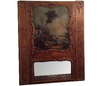 Antique 1800's French Above Mantle Trumeau Painting w/ Mirror