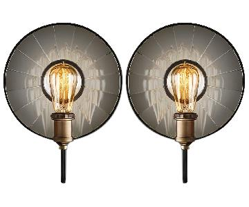 Restoration Hardware C. 1910 Reflector Filament Sconce - Pair