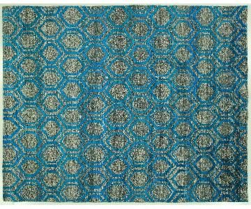 Art Decor Denim Blue Opaque Sari Silk Hand Knotted Geometric Area Rug H6762