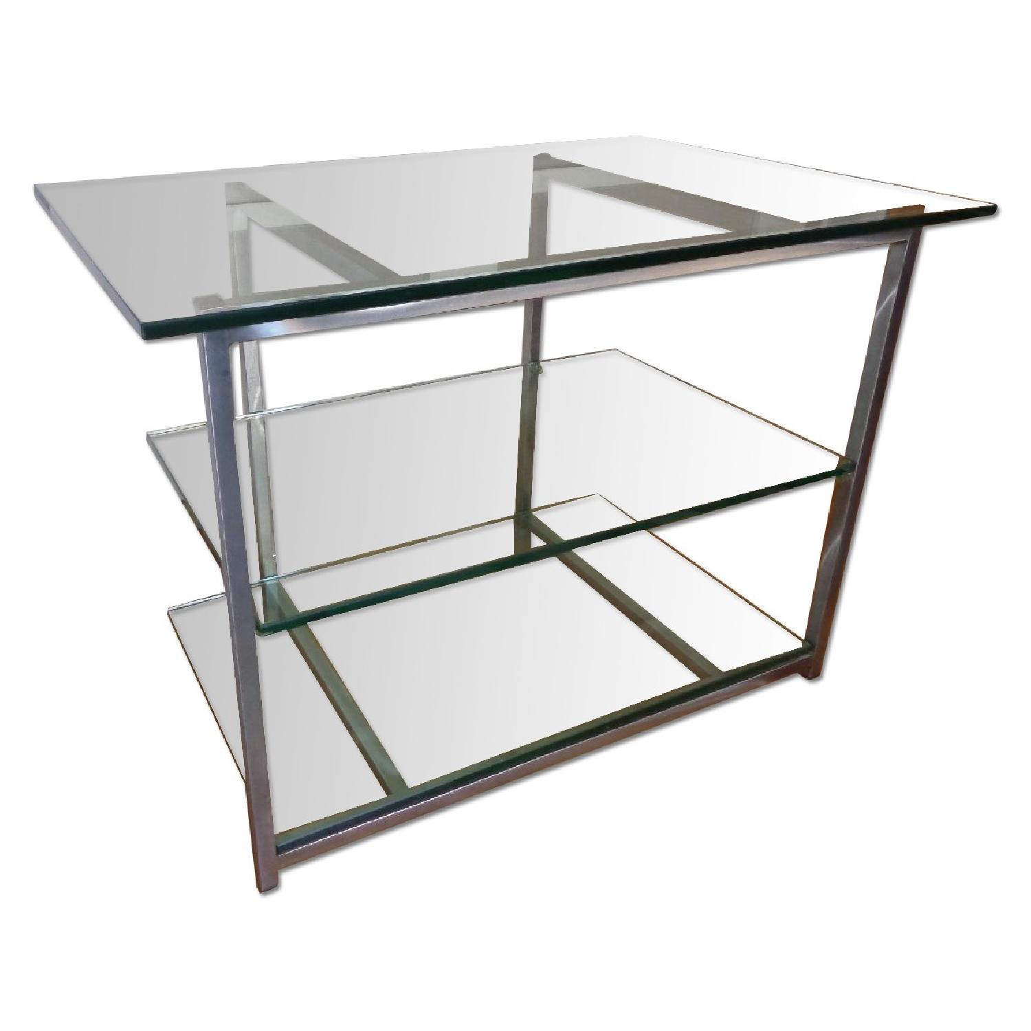 Used Glass Brushed Chrome Three Tier For Sale In Nyc Aptdeco