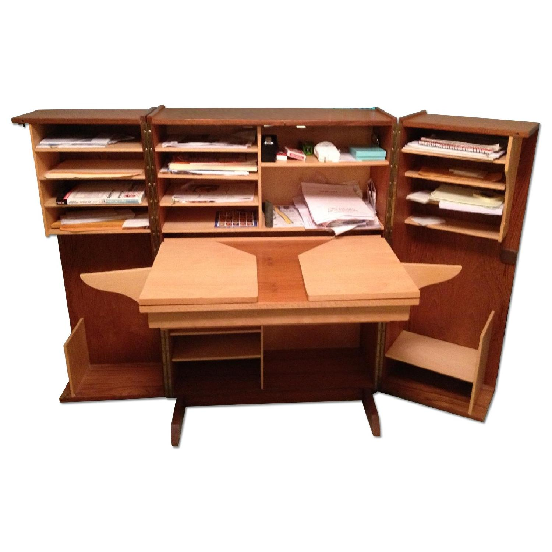 Custom-Crafted Oak Secretary Desk